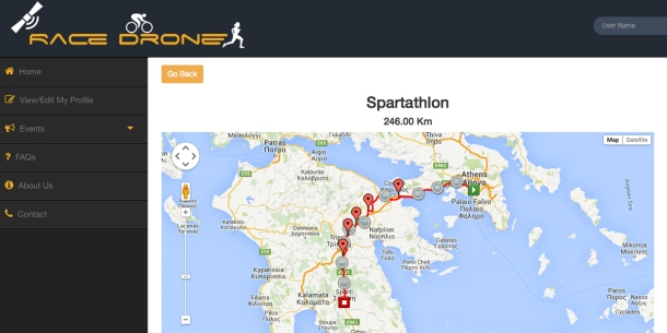 British Spartathlon Team Race Drone Tracking